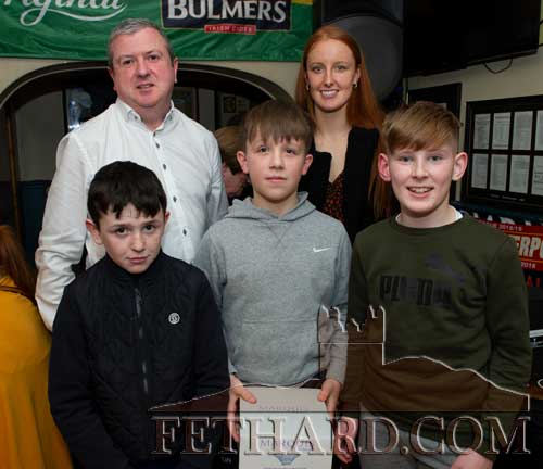 Team of the Year award runners-up were Fethard U12 Boys A Football Team. Back L to R: Eoin O'Gorman, representing awards sponsor Bulmers, special guest, Aisling Moloney, Tipperary All-Ireland Ladies Intermediate Football Team. Front L to R: team members Sam Coen, Shane Neville and Rory O'Mahoney.