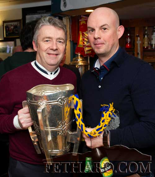 L to R: Bulmers staff members Derek Nolan and Alan Roche photographed with the Liam McCarthy Cup at the annual Fethard Sports Achievement Awards.
