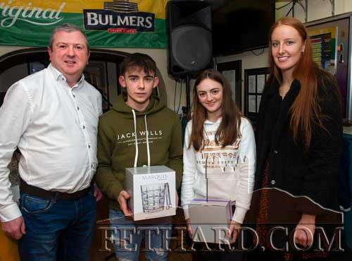 Overall Young Sports Person of the Year award presentation L to R: Eoin O'Gorman, representing awards sponsor Bulmers, Robert Hackett (winner), Allison Connolly (runner-up) and special guest, Aisling Moloney, Tipperary All-Ireland Ladies Intermediate Football Team.