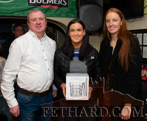 Overall Team of the Year award presentation to winners, St. Rita's Camogie Club, Fethard. L to R: Eoin O'Gorman, representing awards sponsor Bulmers, Katie Ryan, who accepted the award on behalf of the team, and special guest, Aisling Moloney, Tipperary All-Ireland Ladies Intermediate Football.