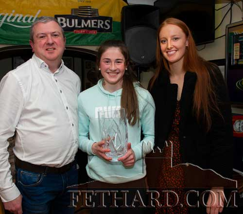 Winner of the overall Sports Achievement Award for 2019, Lucy Spillane, receiving her award from Eoin O'Gorman, representing awards sponsor Bulmers, and special guest, Aisling Moloney, Tipperary All-Ireland Ladies Intermediate Football Team.