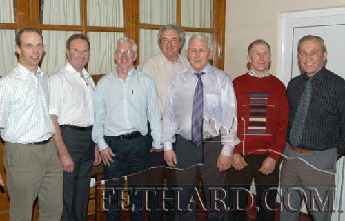 Fethard Ballroom men's committee members photographed at the 12th anniversary dance on  St. Patrick's night, March 17, 2005. L to R: Seamus Barry, Gay Horan, Robert Phelan (secretary), Mick Aherne (chairman), Paddy Hickey, Thomas O'Connell and Sean Spillane.