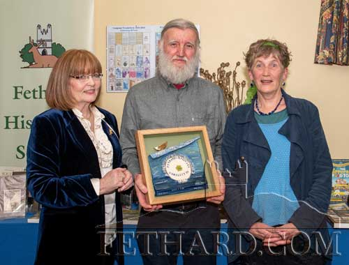 Winner of the Fethard Historical Society's Tipperariana Book of The Year Award for 2019, 'Fethard & Killusty Annual Newsletter', presented to editor Joe Kenny, who accepted the award on behalf of the production team at a reception held in the ICA Hall Fethard on Friday, January 24. Also included are Mary Hanrahan (left), Chairperson of Fethard Historical Society and Dóirín Saurus, who designed the presentation award marking the 60th anniversary of the Newsletter's production.
