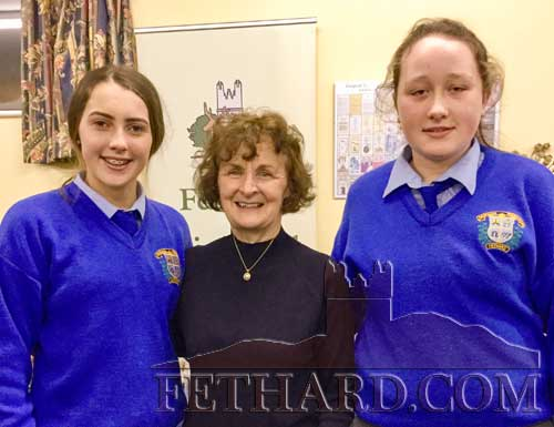 Patrician Presentation Secondary School students Kayce Aherne and Sarah Smith (right) photographed with Mary Guinean-Darmondy (centre).