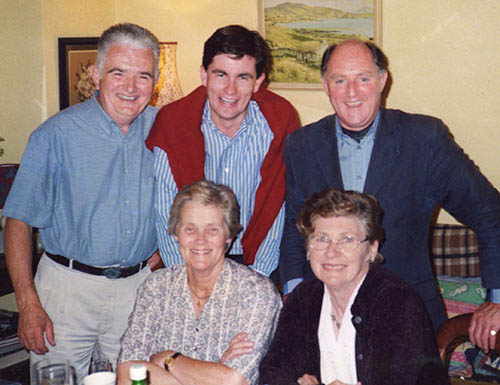 The late Brinley Moralee (back centre) photographed with some of his Fethard friends Back L to R: John Whyte, Brinley Moralee RIP, Dr. Mat Corcoran. Front L to R: Maureen Whyte and Ann Skehan.