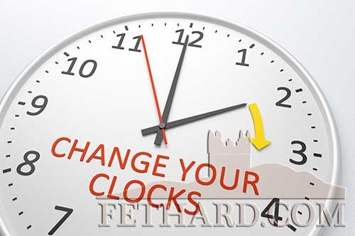 Don't forget to set your clocks forward by one hour at 1am on this coming Sunday, March 29, officially the start of Summer Time, also called 'Spring Forward' and 'Daylight Savings Time'. Sunrise and sunset will be about 1 hour later than the day before giving us more light in our evening time.