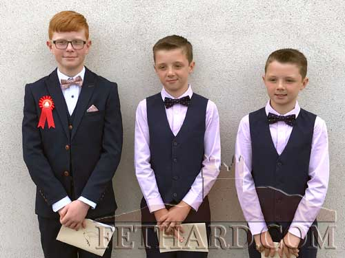 Congratulations to these three cousins from Redcity, Fethard, who received the scarament of Confirmation on Saturday, August 1, Lisronagh. L to R: Mark O'Meara, Troy Delaney and Lee Delaney. The three boys were part of a group of twelve pupils confirmed on the day.