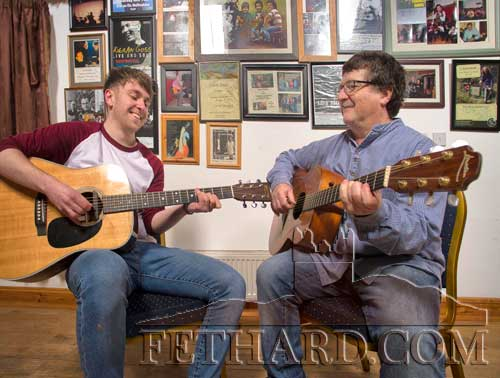 John Bermingham (right) practising a few tunes with his son Sean in the music rooms at Crocanóir