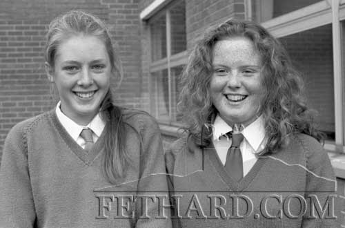 Pupils from Patrician Presentation School Fethard taking part in the Soroptimist Girls Public Speaking Competition held in the Presentation Convent, Clonmel, on November 20. 1993. L to R: Michelle Nevin and Eleanor Ryan.