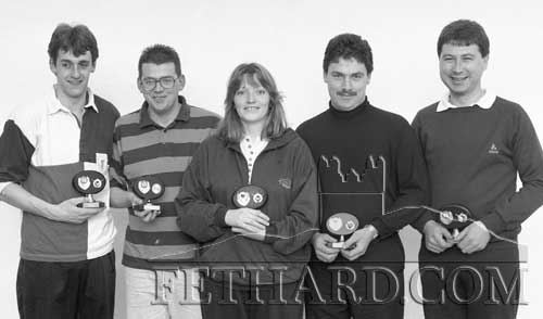 Dawn Foods racquetball team, runners up in the Hayes Cup final played on December 3, 1993. L to R: Stephen Morrissey, David Lawton, Ann Kelly, Tony Maher and John Queally. (Subs missing from photo: Assumpta Coffey and Orla McManus.