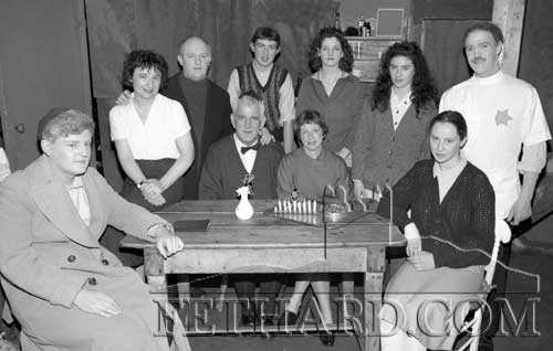 "Fethard Players pictured after their successful run in November 1993 of ""The Diary of Anne Frank"" produced by Austin O'Flynn. Standing L to R: Angela Dillon-White, Gerry Fogarty, Thomas Burke, Geraldine McCarthy, Shona Coen and Michael McCarthy. Seated L to R: Jimmy O'Sullivan, Percy O'Flynn, Carmel Rice and Deirdre Lawlor."