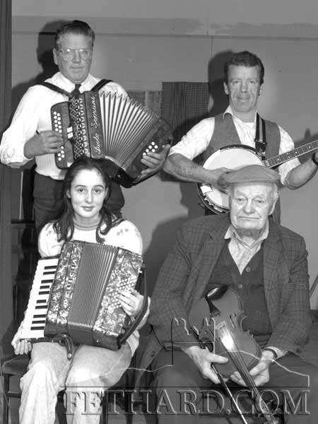 Providing dance music at the Mullinahone Senior Citizens Christmas Party ion December 19, 1993 are: Joe O'Gorman, Emer Halley, Patrick Treacy and Ned Hennessy.