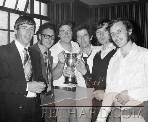 Fethard players and supporters in the Fethard Arms after winning the South Intermediate Hurling Final 1982. L to R: Abe Kennedy, Andy Fox, Davy Morrissey, Michael Keane, Noel Harrington and Noel Sharpe.