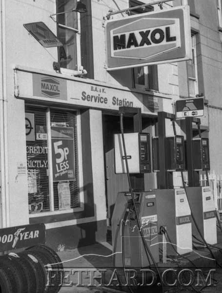 B.A. & K. Service Station, Main Street, Fethard, formerly Whytes Garage. Photographed in 1989.