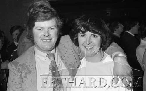 Pat and Breda Mullally, celebrating after winning the 'Big Draw for a Car' at Cloneen Community Sports Centre's fundraising 'Buffet Dance' held at Fethard Ballroom on December 18, 1981.