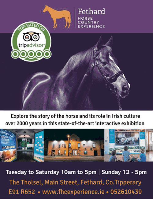 Fethard Horse Country Experience is now open from Tuesday to Saturday from 10am to 5pm, and on Sundays from 12 noon to 5pm. Explore the story of the horse and its role in Irish Culture over 2,000 years in this state-of-the-art interactive exhibition.  For further information and booking contact manager, Tori McMorran, at Tel: (052) 610439 or visit our website www.fhcexperience.ie The Tholsel, Main Street, Fethard, Co. Tipperary. Eircode: E91 R652.