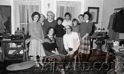 Fethard Players rehearsing in O'Flynn's Menswear workshop for 'The Whole Town's Talking', November1982. Back L to R: Mary Ward, Gerry Fogarty, Percy O'Flynn, Carmel Rice, Paddy Kenrick, Rita O'Connor, Jimmy O'Shea. Ann Connolly. Front L to R: Marian Mulligan and John Fogarty.