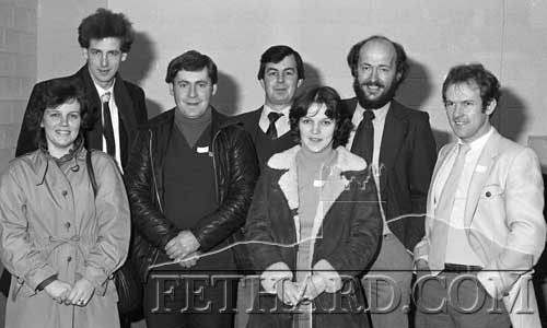 Photographed at the Open Day at Killenaule Vocational School in December 1982, are past pupils L to R: Joan Shaw, Tony Hanrahan, John Fitzgerald, Hugh Browne, Mary Shaw, Ed Healy and Martin Horan.