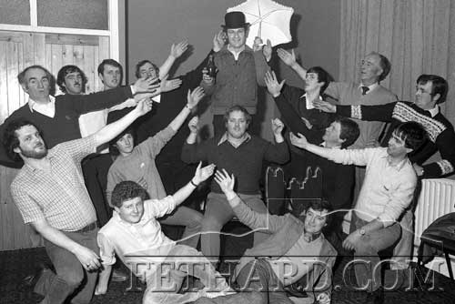 Men's Chorus of Hogan Musical Society's production of Oklahoma! that took place in the Country Club Ballroom from Thursday, February 3, to Sunday, February 6, 1983. Admission £2.50, Children £1.50 (Thursday night only). Booking was at Fethard Post Office. Back L to R: Jimmy O'Shea, Michael McCarthy, Stephen McCormack, John Looby, Gerry Fogarty, Francis Kearney, Paddy Broderick, Davy Tobin. Middle L to R: Sean Doyle, Eddie Sheehan, Miceál McCormack, Andy O'Riordan, Paddy Kenrick. Front L to R: Jimmy O'Sullivan and Danny Kane.