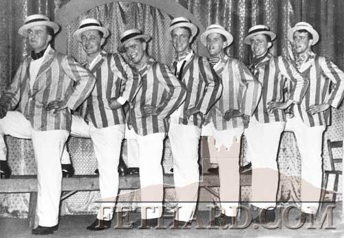 Fethard Players chorus excerpt from their pantomime,  'Bo-Peep' performed at Ther Capitol Cinema from January 18 to January 21, 1955. Produced by Eddie O'Neill. L to R: Cha Finn, Cly Mullins, Tom McCormack, Tossy Stapleton, Tom Sayers, Tony Newport and Paddy O'Flynn.
