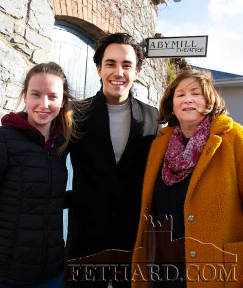 Jake Carter photographed with local fans Sarah O'Donnell (left) and Helena O'Shea on his visit to Fethard's Abymill Theatre last Monday in preparation for his concert on Saturday, March 7, starting at 8pm. Tickets are now available at €25 each. Booking at Tel: 086 0834208.