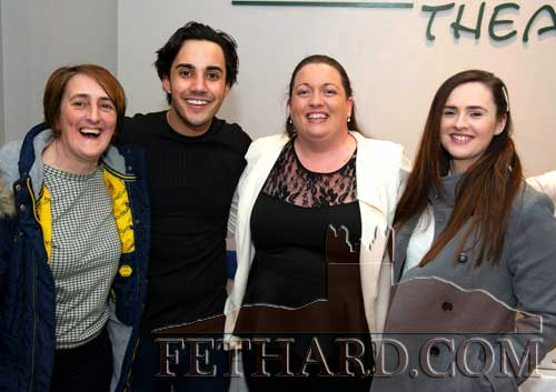 Jake Carter photographed with Fethard fans at his concert in the Abymill Theatre, Fethard, on Saturday night, March 7. L to R: Annette Connolly, Jake Carter, Amanda Keogh and Shannon O'Brien.