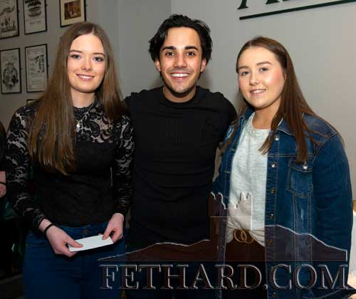Jake Carter photographed with Clonmel fans at his concert in the Abymill Theatre, Fethard, on Saturday night, March 7. L to R: Alanna O'Keeffe, Jake Carter and Elle Power.