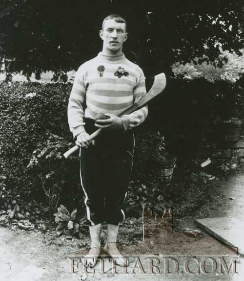 This photograph from the Kenrick Collection of Glass Plates was taken of a local barefoot hurler c.1895-1915 by photographer Patrick Kenrick, the eldest of 14 children, born at his home on Main Street, Fethard in 1872.