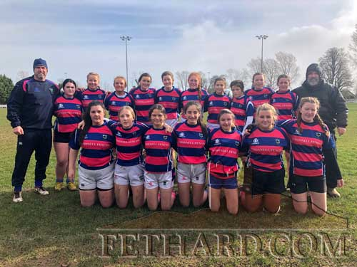 Fethard U16 Girls Rugby team that won their second round of the Munster Cup away to a progressive Bruff team. Back L to R: Jason Flannery (coach), Caoimhe O'Brien, Kate Ross, Kate Flannery, Emma Farrell, Anna Duggan, Aoibhe Gleeson, Anna Kearney, Jess Stokes, Abby Noonan, Lucy Kearney,  Don Maher (coach). Front L to R: Shauna Maher, Beth Buttimer, Evelyn Gayson Molloy, Lucy Austin, Caoimhe Grace, Lia Coady (Captain) and Amber Martin.