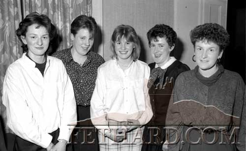A photograph published in last year's newsletter taken at Fethard GAA Dinner Dance in May 1990 are L to R: Louise Gleeson, Elizabeth Burke, Mary Ryan, Fiona Boland and Ann Marie Quinlan.