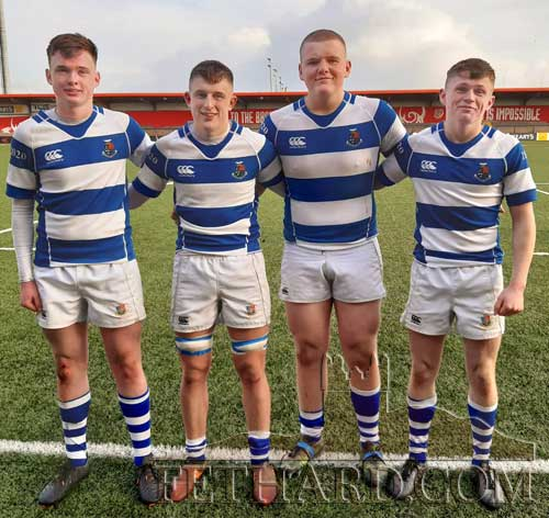 Four local Fethard boys photographed in Musgrave Park, Cork, where they represented Rockwell College in the Munster Schools Rugby Senior Cup. Unfortunately after a long season they were beaten in the semi-final by CBC Cork. All four lads started playing rugby at mini-level with Fethard RFC. L to R: Peter Wall, Richie Anglim, Mattie Burke and Robert Wall. Missing from photo is another Fethard lad, Shane Neville.