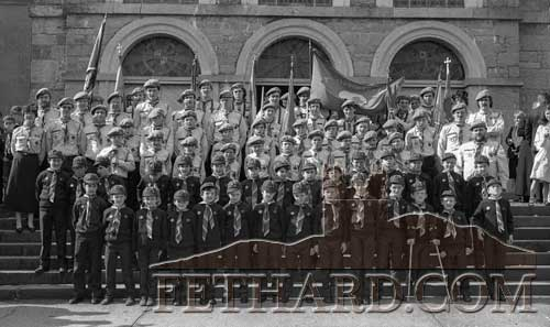 Fethard & Killusty Boy Scouts, 27th Tipperary Unit, photographed with leaders on the occasion of their First Investiture outside Holy Trinity Parish Church in May 1987 .