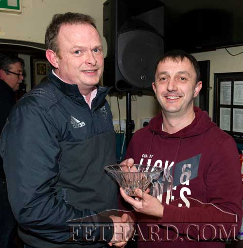 M.J. Croke, representing this month's sponsor Cashel Motors, presenting the Butlers Bar Fethard Sports Achievement Award for February to joint winner, Anthony Wall, who accepted the award on behalf of his daughter Dorothy Wall who won the award.