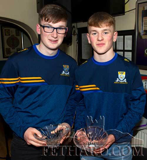 Fethard hurling stars, Ciaran Moroney and Michael Quinlan, who were joint winners of the Butlers Bar Fethard Sports Achievement Award for February.