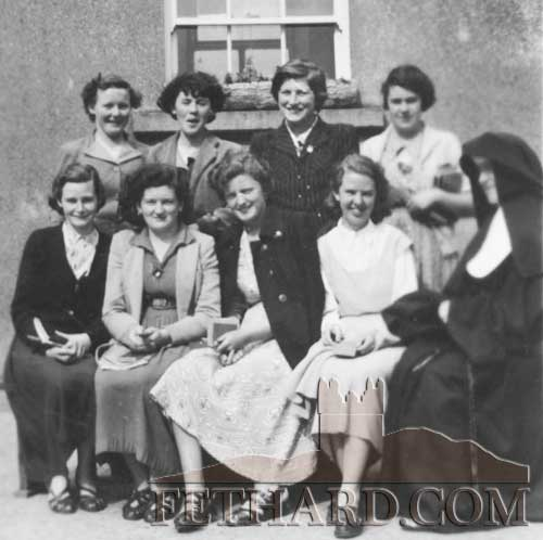 Fethard Leaving Cert Class 1955.  Back L to R: Kathleen O'Donnell, Mary Ryan, Ann O'Donnell, Patsy Byard.  Front L to R: Marie Dineen, Frances Evans, Rose Walsh, Rita O'Donnell and Sr. Theresa.