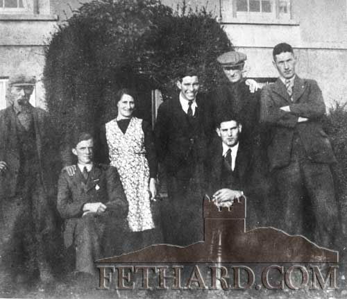 Group photographed outside Kate Myles house at Saucestown, Fethard. L to R: Jim Bourke, Mick Heffernan, Kate Myles, Billy Brophy, Jack Myles, Billy Lawless and Tom Gleeson.