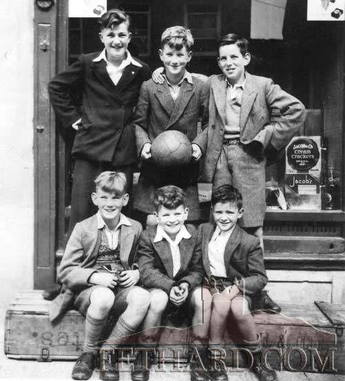 The late Peter O'Flynn (front left) photographed with his friends in Burke Street many years ago. Back L to R: Cha Finn, Austy O'Flynn, Percy O'Flynn. Front L to R: Peter O'Flynn, Bernard Walsh and Gerry McDonnell.