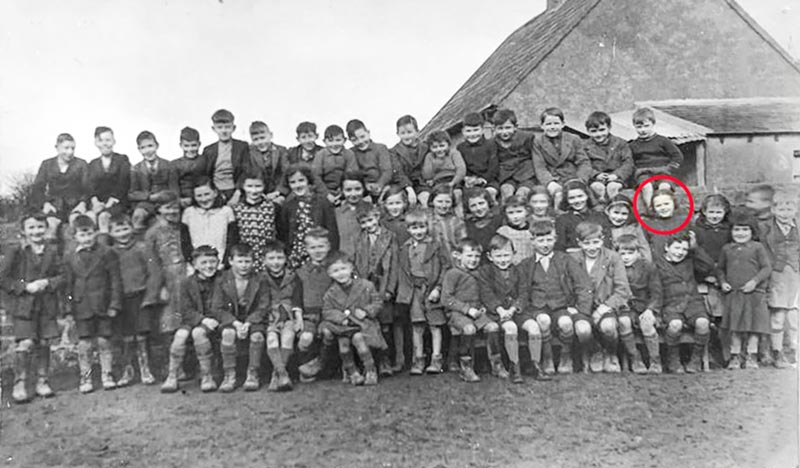 Killusty National School Photograph c.1940, a photograph that the late Peggy (O'Donnell) Bowes kept at her home for many years, she is circled in red in the middle row on the right. Back L to R: Jim Halpin, Pat Lonergan, Gus Phelan, Joe Clarke, Tommy Butler, Percy O'Donnell, Jimmy Sheehan, Tommy Ryan, Paddy Ryan, Gus Keane, Jimmy O'Donnell, Jim Clarke, Michael O'Donnell, Pat O'Shea, Jimmy O'Shea, Michael O'Keeffe. Middle L to R: Paddy O'Shea, Christy Williams, Stephen Hickey, Mary Dunne, Bab Butler, Sadie Keane, Biddy Butler, Kathy O'Shea, Mary Sheehan, Lizzie Dunne, Nora O'Donnell, Monica Keane, Maura O'Keeffe, Chris Donovan, Phyllis Phelan, Peggy O'Donnell, Joan Donovan, Jack Hickey, Brian O'Donnell. Front L to R: John O'Shea, Jimmy Williams, Frank Kearney, Tom Lonergan, Tommy Kearney, Tom Sheehan, Dan Sheehan, Martin Hickey, Jimmy Darcy, Ned Dunne, Ned Sheehan, Nicholas O'Shea, Larry Donovan and Nora O'Shea.