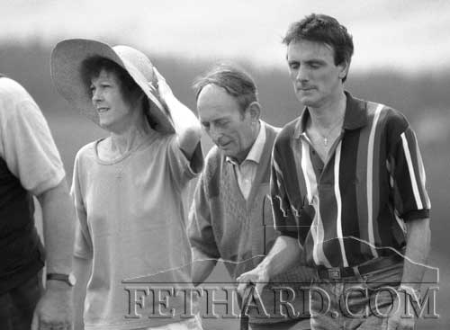 Photographed at the Slievenamon Annual Pilgrimage to Holy Year Cross on August 15, 1998, are L to R: Marion O'Connor, Paddy Croke and Martin O'Connor