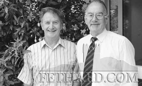 Brothers Pat Shine (London) and Tom Shine (Cahir), originallly from Crampsastle, photographed on a visit to Fethard in 1998. Pat will be well remembered as one of the organisers of the Fethard London Reunion in the 1960s and Tom was manager of Fethard Capitol Cinema up to its closure.