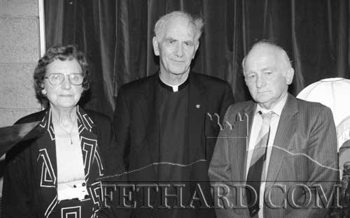 Presentation from Killenaule and Moyglass Parishioners to to Canon Tim O'Brien on September 6, 1998 are  L to R: Mary Costello, Canon Tim O'Brien and Tom Walsh.