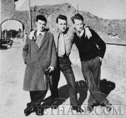 Photographed on the Rocklow Road are L to R: Jimmy Fitzgerald, Eddie Fogarty and Tom O'Connell (February 26, 1962).