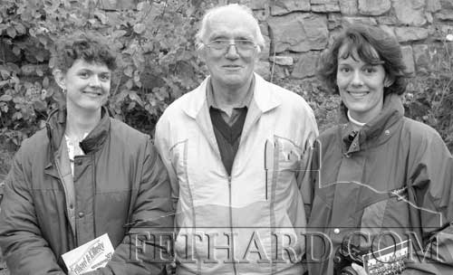 Tony Newport, Fethard, photographed with two of his relatives from New Zealand who visited Fethard for the first time on September 25, 1998. L to R: Paula Marie Kenrick, Tony Newport and Clare (Kenrick) McCann, Reading.  Both girls are daughters of Bernard Kenrick born in New Zealand.  Bernard's father was the late Tommy Kenrick from Main Street.
